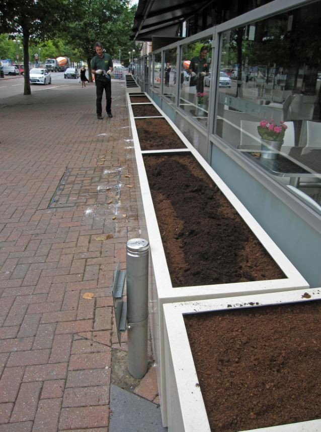 Exterior barrier planters near the Royal Victoria Docks, London E16