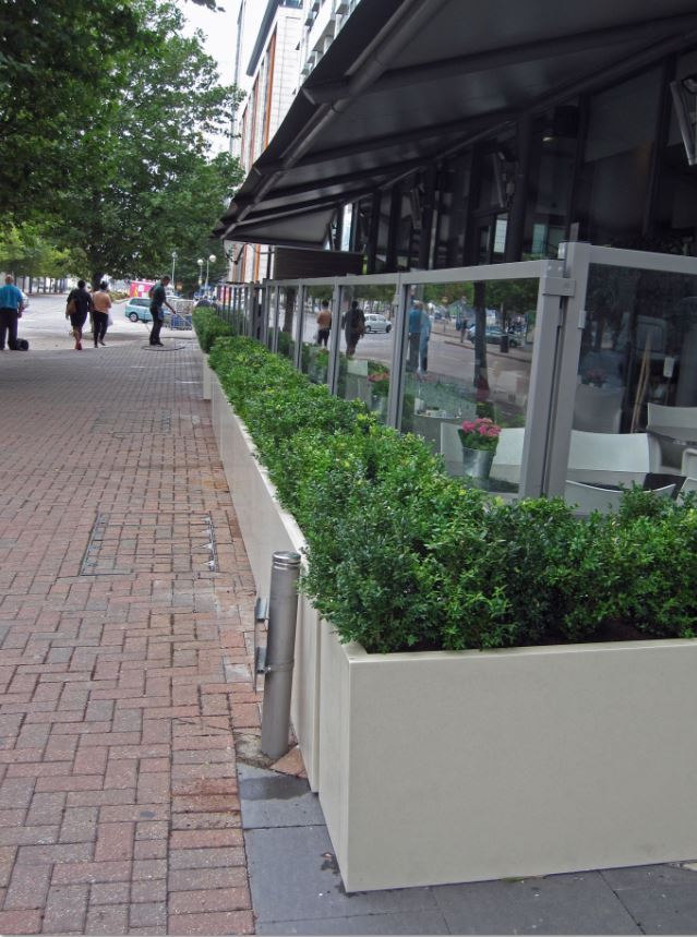 Buxus hedging screen planting for London Restaurant