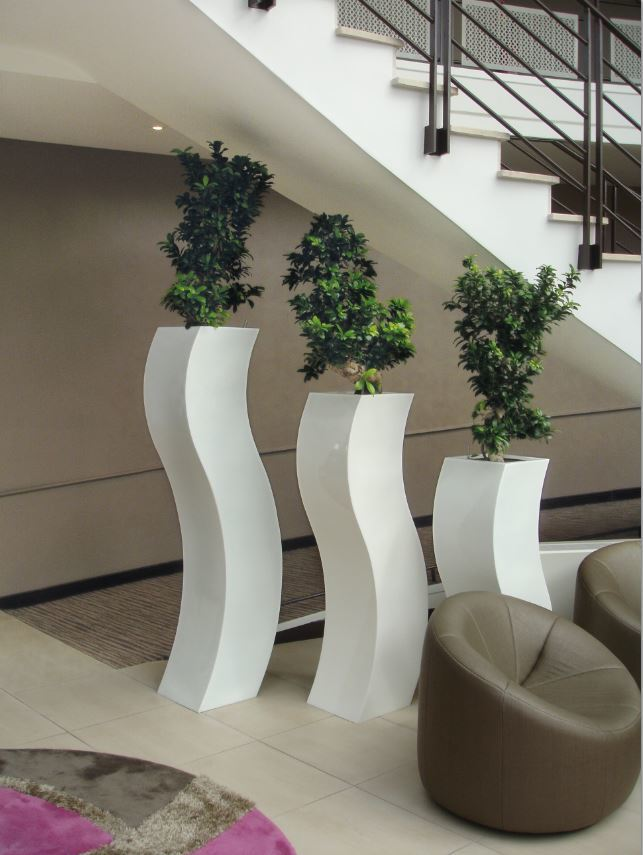 Curvy S Plant Displays are located under the stairs of this Midlands office Reception