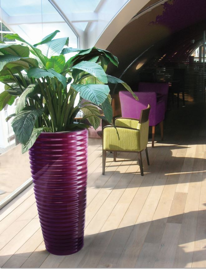 Groovy Spin plant pot in this sunny Nottingham rooftop office breakout area