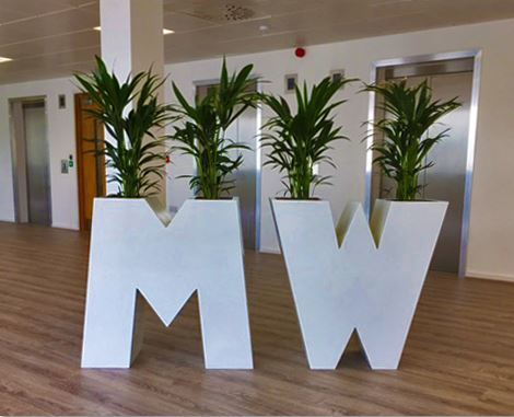 Alphabet Plant Displays for this West Midlands office Reception