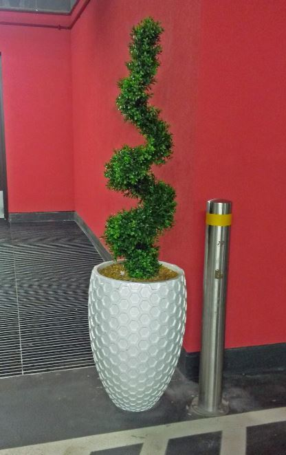 Artificial Spiral Buxus Tree planted into a Honeycomb planter