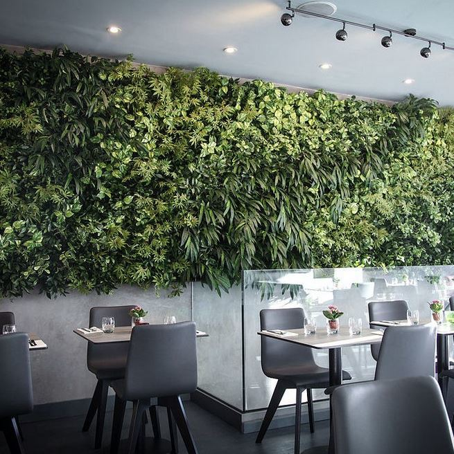 Themed Artificial Green Wall in office Restaurant