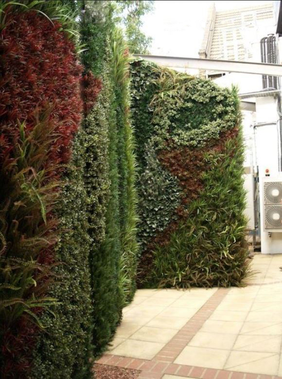Large Green Wall patterened with different species of plants