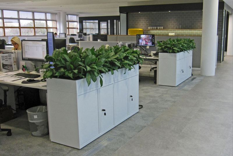 Bisley office cabinets with inbuilt planters
