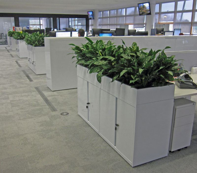 Bisley Magna cabinets with built in planters were used in these open plan offices in Oxford
