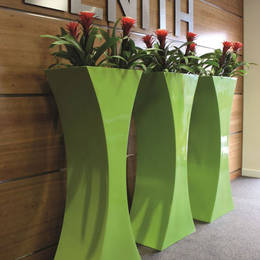 Tall Curvy Displays In The Office Front Reception