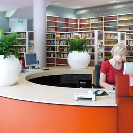 Large Circular Table Top Displays On Reception Desk