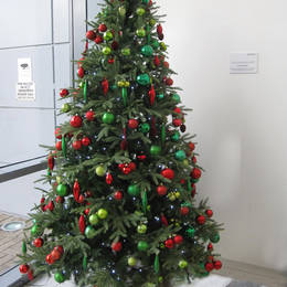 Rented Christmas Tree In Red & Green For This Birmingham Reception
