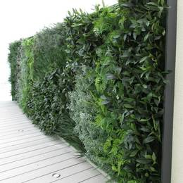 Artificial Green Wall with mixed green foliage