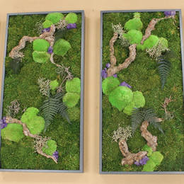 Moss Pictures with wood & Preserved Foliage